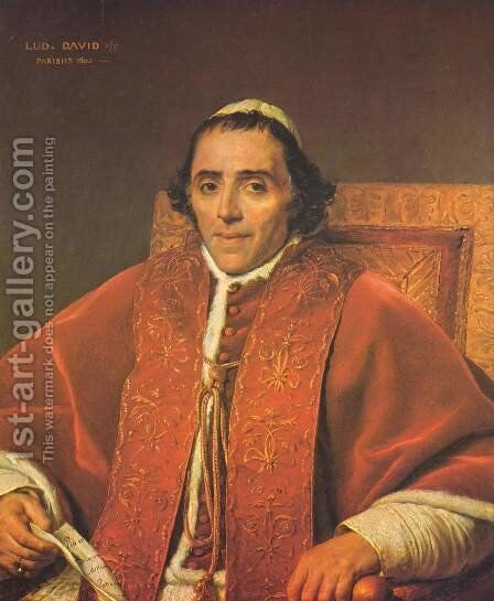 Portrait of Pope Pius VII by Jacques Louis David - Reproduction Oil Painting