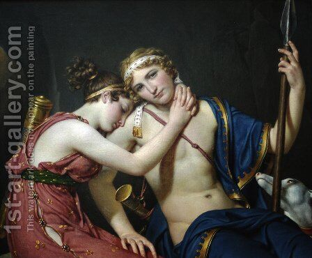 The Farewell of Telemachus and Eucharis by Jacques Louis David - Reproduction Oil Painting