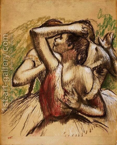 Three Ballet Dancers, One with Dark Crimson Waist by Edgar Degas - Reproduction Oil Painting