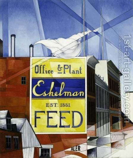 Buildings, Lancaster by Charles Demuth - Reproduction Oil Painting