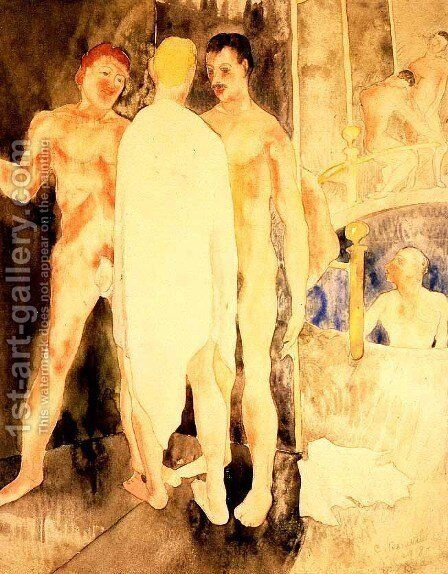 Turkish Bath with Self Portrait by Charles Demuth - Reproduction Oil Painting