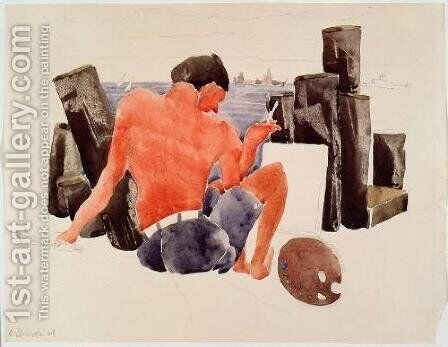 The Artist on the Beach at Provincetown by Charles Demuth - Reproduction Oil Painting