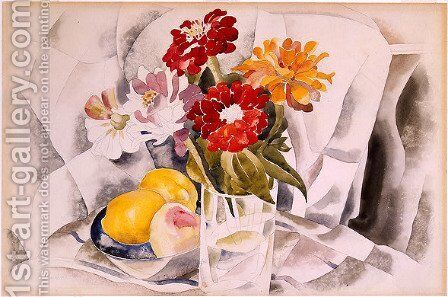 Zinnias and a Blue Dish with Lemons by Charles Demuth - Reproduction Oil Painting