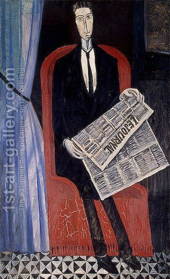 Portrait of a Man with a Newspaper by Andre Derain - Reproduction Oil Painting