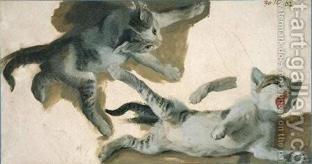 Sketches of a Kitten by Alexandre-Francois Desportes - Reproduction Oil Painting