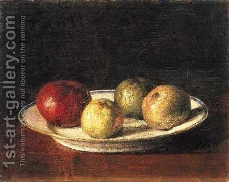 A Plate of Apples by Ignace Henri Jean Fantin-Latour - Reproduction Oil Painting