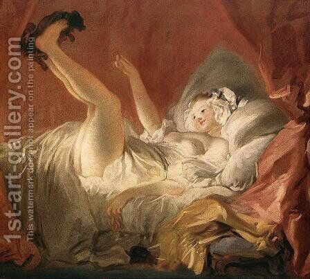 Young Woman with a Dog by Jean-Honore Fragonard - Reproduction Oil Painting