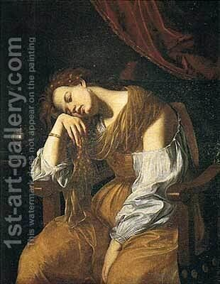 Mary Magalene as Melancholy by Artemisia Gentileschi - Reproduction Oil Painting