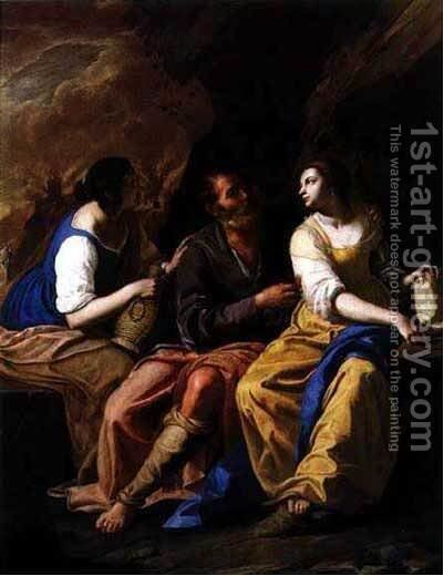 Lot and His Daughters by Artemisia Gentileschi - Reproduction Oil Painting