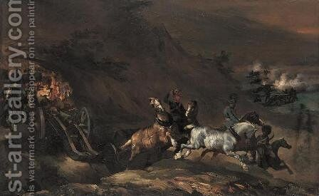 Artillery Train Passing a Ravine by Theodore Gericault - Reproduction Oil Painting