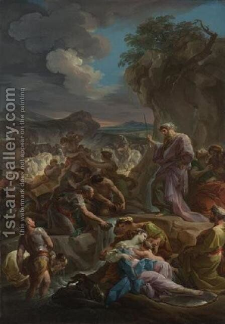 Moses Striking the Rock by Corrado Giaquinto - Reproduction Oil Painting
