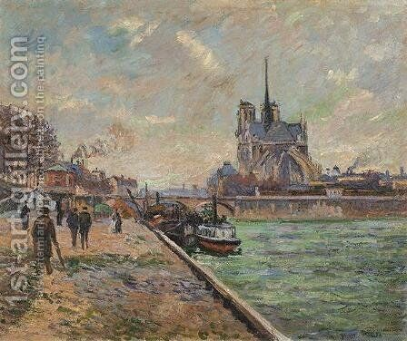 The Bridge of the Archibishops Palace and the Apse of Notre-Dame by Armand Guillaumin - Reproduction Oil Painting