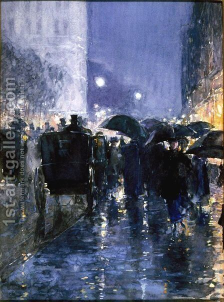 Rainy Night by Childe Hassam - Reproduction Oil Painting