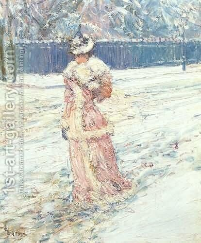 Lady in Pink by Childe Hassam - Reproduction Oil Painting