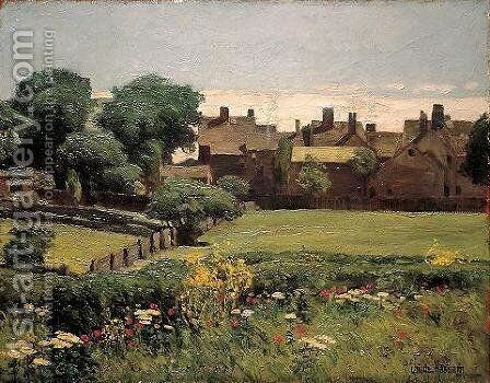 Village Scene by Childe Hassam - Reproduction Oil Painting