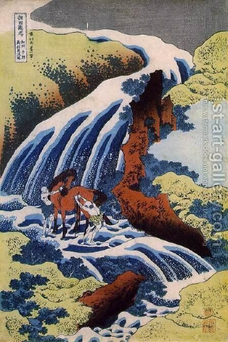 The waterfall where Yoshitsune washed his horse, Yoshino, Yamato Province by Katsushika Hokusai - Reproduction Oil Painting