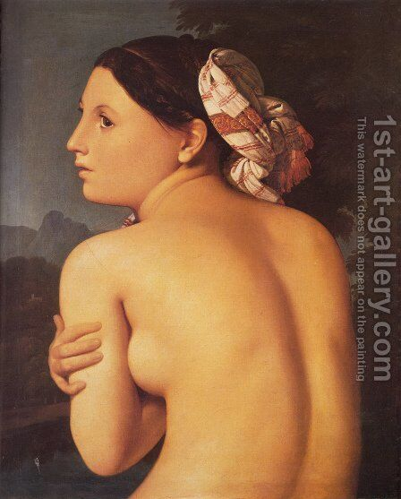 Half-figure of a Bather by Jean Auguste Dominique Ingres - Reproduction Oil Painting