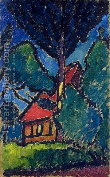 Landscape with a Red Roof by Alexei Jawlensky - Reproduction Oil Painting