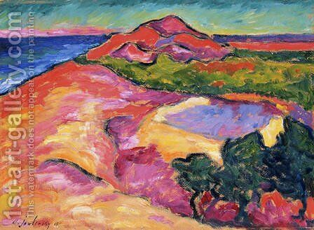 Coast Scene with Red Hill by Alexei Jawlensky - Reproduction Oil Painting