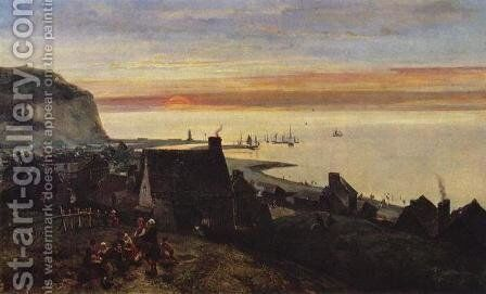 Etretat Harbour by Johan Barthold Jongkind - Reproduction Oil Painting