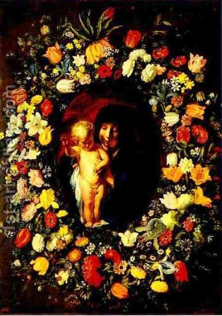Madonna and Child Wreathed with Flowers by Jacob Jordaens - Reproduction Oil Painting
