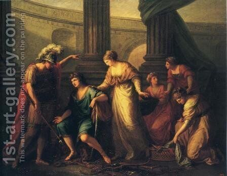 Hector Calls Paris to the Battle by Angelica Kauffmann - Reproduction Oil Painting