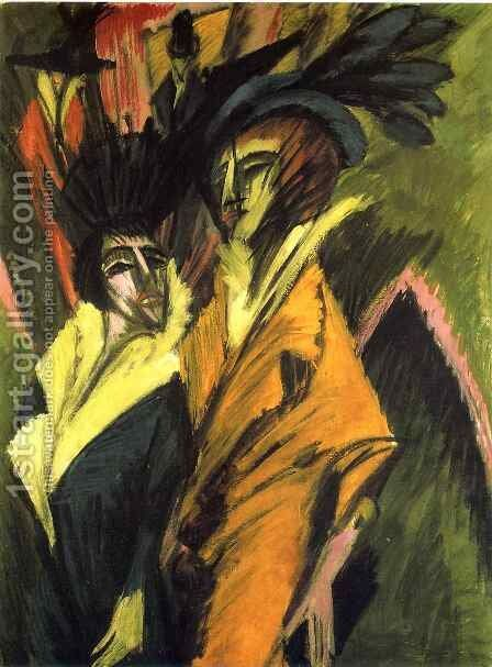 Two Women in the Street by Ernst Ludwig Kirchner - Reproduction Oil Painting