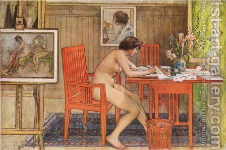 Model Writing Postcards by Carl Larsson - Reproduction Oil Painting
