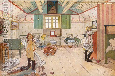 Mamma's and the small girls' room by Carl Larsson - Reproduction Oil Painting