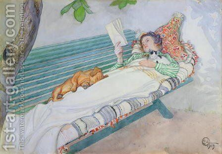 Woman Lying on a Bench by Carl Larsson - Reproduction Oil Painting