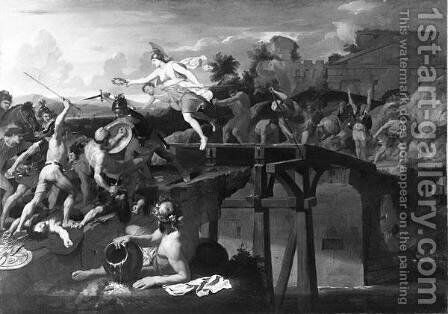 Horatius Cocles defending the Bridge by Charles Le Brun - Reproduction Oil Painting