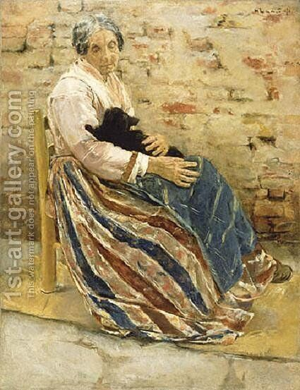 Old Woman with Cat by Max Liebermann - Reproduction Oil Painting