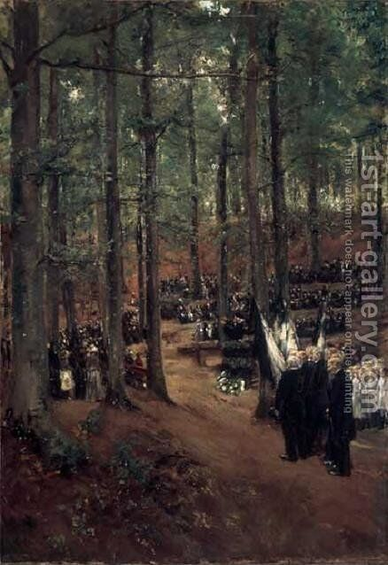 Memorial Service for Kaiser Friedrich at Kösen by Max Liebermann - Reproduction Oil Painting