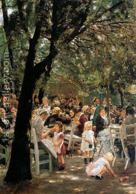Munich Beer Garden by Max Liebermann - Reproduction Oil Painting