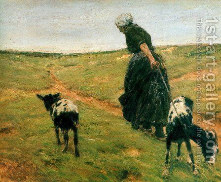 Woman with Goats in the Dunes by Max Liebermann - Reproduction Oil Painting