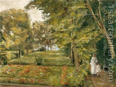 The ArtistŽs Granddaughter with her Governess in the Wannsee Garden by Max Liebermann - Reproduction Oil Painting