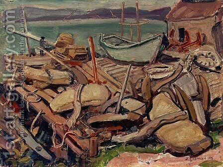 Docks at Ingonish by Arthur Lismer - Reproduction Oil Painting