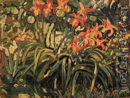 Lilies and Apples by Arthur Lismer - Reproduction Oil Painting