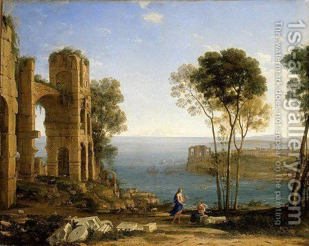 Coast View with Apollo and the Cumaean Siby by Claude Lorrain (Gellee) - Reproduction Oil Painting