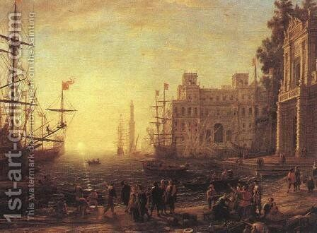 Port with Villa Medici by Claude Lorrain (Gellee) - Reproduction Oil Painting