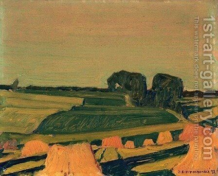 In a Wheat Field, Evening Shadows by James Edward Hervey MacDonald - Reproduction Oil Painting