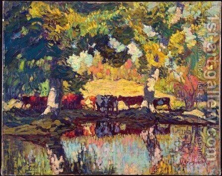 Cattle by the Creek by James Edward Hervey MacDonald - Reproduction Oil Painting