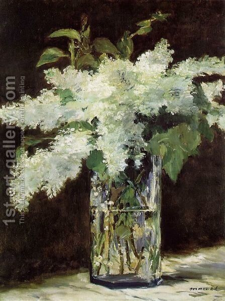 Lilacs in a Vase by Edouard Manet - Reproduction Oil Painting