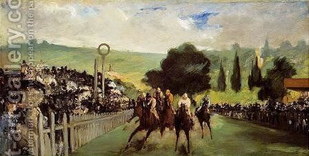 Races at Longchamp by Edouard Manet - Reproduction Oil Painting