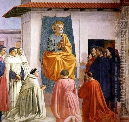 Saint Peter Enthroned by Masaccio (Tommaso di Giovanni) - Reproduction Oil Painting