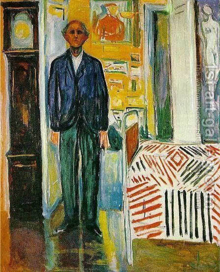 Self Portrait: Between Clock and Bed by Edvard Munch - Reproduction Oil Painting