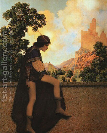 The Knave Watching Violetta Depart by Maxfield Parrish (inspired by) - Reproduction Oil Painting