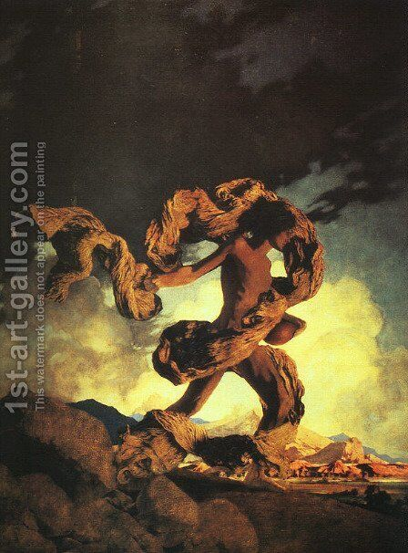 Cadmus Sowing the Dragon's Teeth by Maxfield Parrish (inspired by) - Reproduction Oil Painting