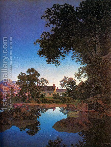 Evening Shadows by Maxfield Parrish (inspired by) - Reproduction Oil Painting