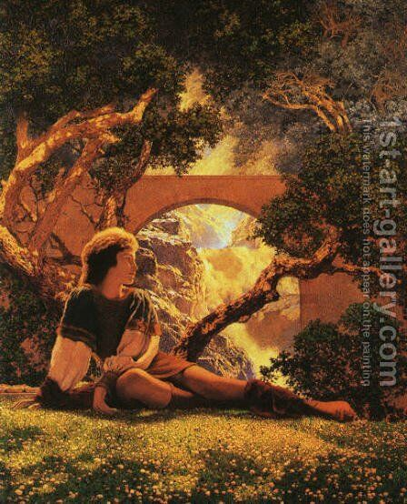 The Knave of Hearts in the Meadow by Maxfield Parrish (inspired by) - Reproduction Oil Painting